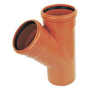 FloPlast 110mm Underground Drainage Equal Junction Double Socket/Spigot 45° - Terracotta