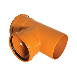 FloPlast 110mm Underground Drainage Equal Junction Double Socket/Spigot 87.5° - Terracotta