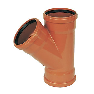 FloPlast 110mm Underground Drainage Equal Junction Triple Socket 45° - Terracotta