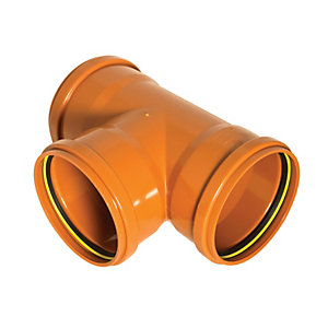 FloPlast 110mm Underground Drainage Equal Junction Triple Socket 87.5° - Terracotta
