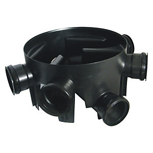 FloPlast 450mm Chamber Base with 5 Fixed Inlets - Black