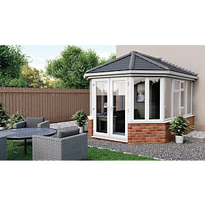 Euramax Victorian V5 Solid Roof Dwarf Wall Conservatory - 12 x 11 ft