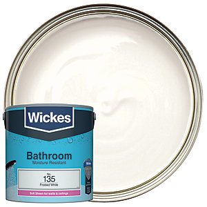 Wickes Frosted White - No. 135 Bathroom Soft Sheen Emulsion Paint - 2.5L