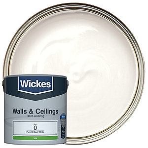 Wickes Pure Brilliant White - No. 0 Vinyl Silk Emulsion Paint - 2.5L