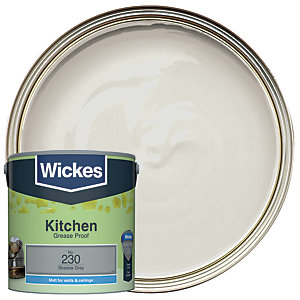 Wickes Shadow Grey - No. 230 Kitchen Matt Emulsion Paint - 2.5L