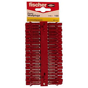 Fischer Red Plastic Wallplugs - 6mm Pack Of 100