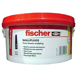 Fischer Wall Plugs Brown 7mm Tub 400 Pack