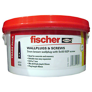 Fischer Wall Plugs Brown 7mm W/ Screws Tub 400 Pack