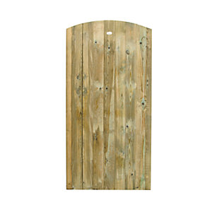 Forest Garden Pressure Treated Curved Top Timber Gate - 900 x 1800 mm