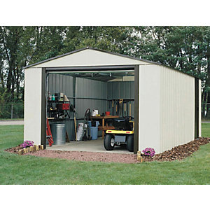 Rowlinson 12 x 31 ft Murryhill Vinyl Coated Steel White Garage with Roll Over Door